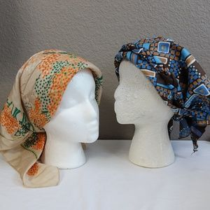 Accessories - 2 True Vintage Head Scarf Skull Cap Bowknot Turban